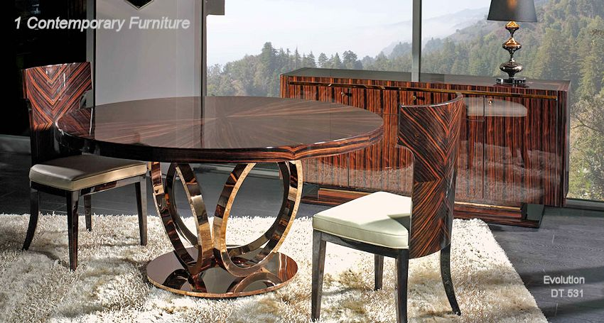 Modern Dining Set Bronze