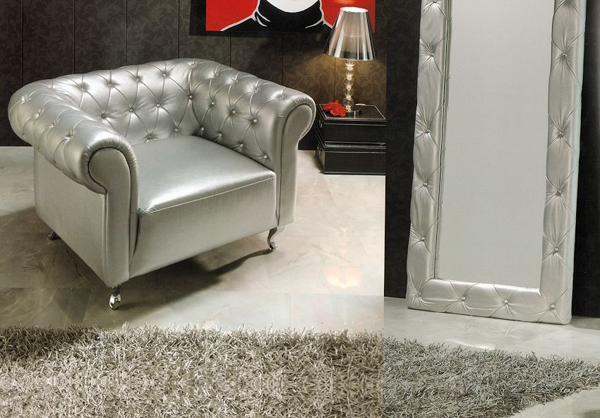 Merveilleux Matching Chair, Mirror, And Lounge Chair Are Also Available. $ 1,150   B 7  Arm Chair In Silver $ 550   E 95 Standing Mirror In Silver.