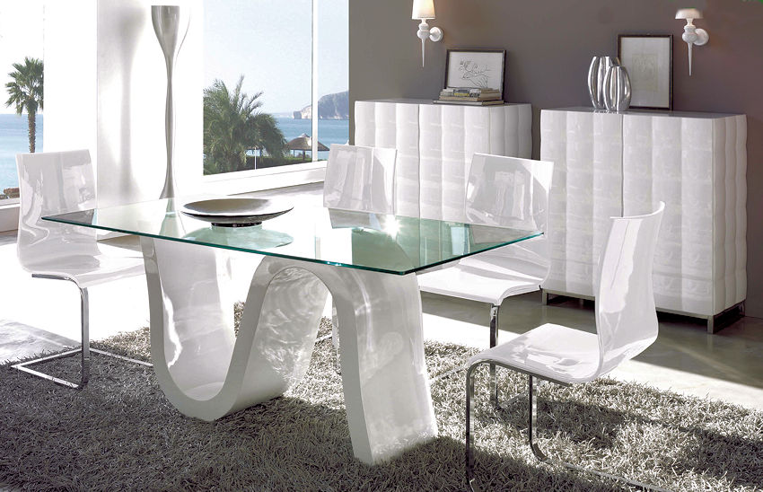 D313 Modern Dining Room Set In White Lacquer Finish: 1 Contemporary Furniture ®
