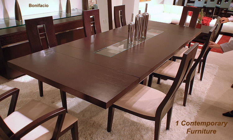 Novo Expandable Table In Dark Brown Real Wood Veneer And Off White Micro Fiber Chairs 1895