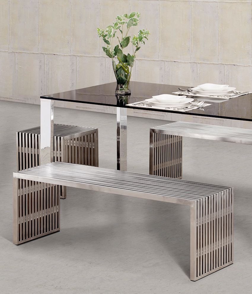 Modern Stainless Steel Benches