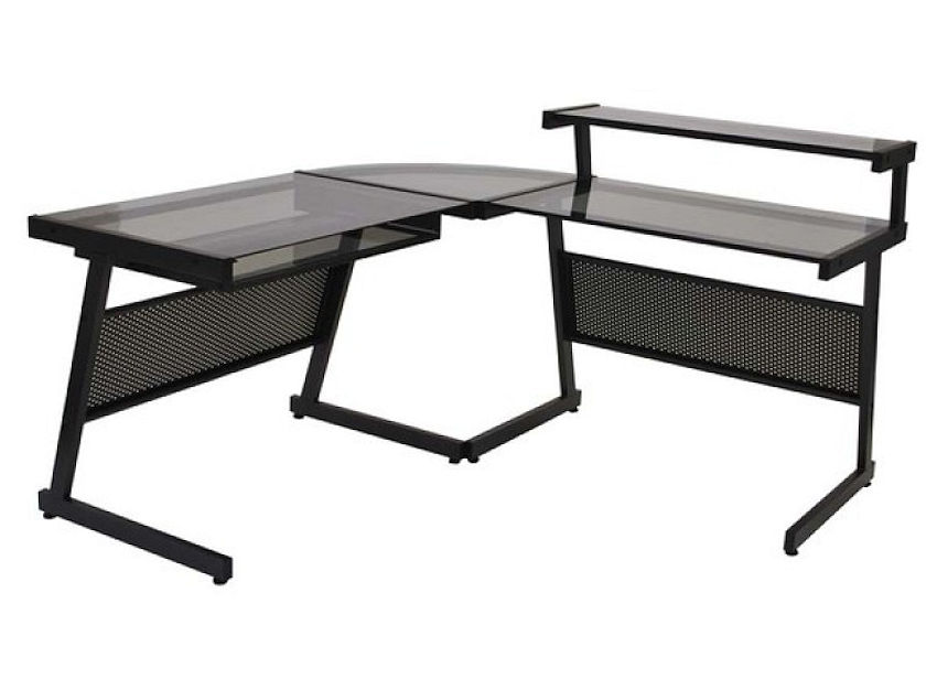 1 Contemporary Furniture Page Atrium Metal And Glass L Shaped Computer Desk Multiple