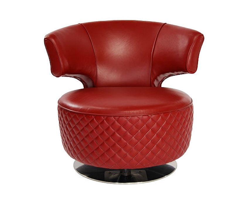 995 tango swivel chair in red leather with polished stainless