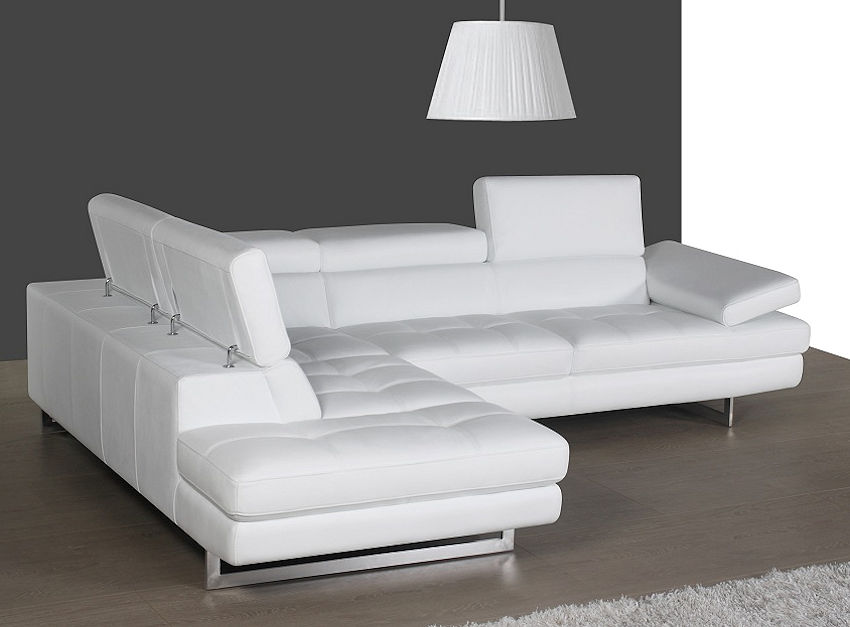 Modern White Leather Sectional