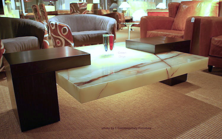 Contemporary Green Onyx Table