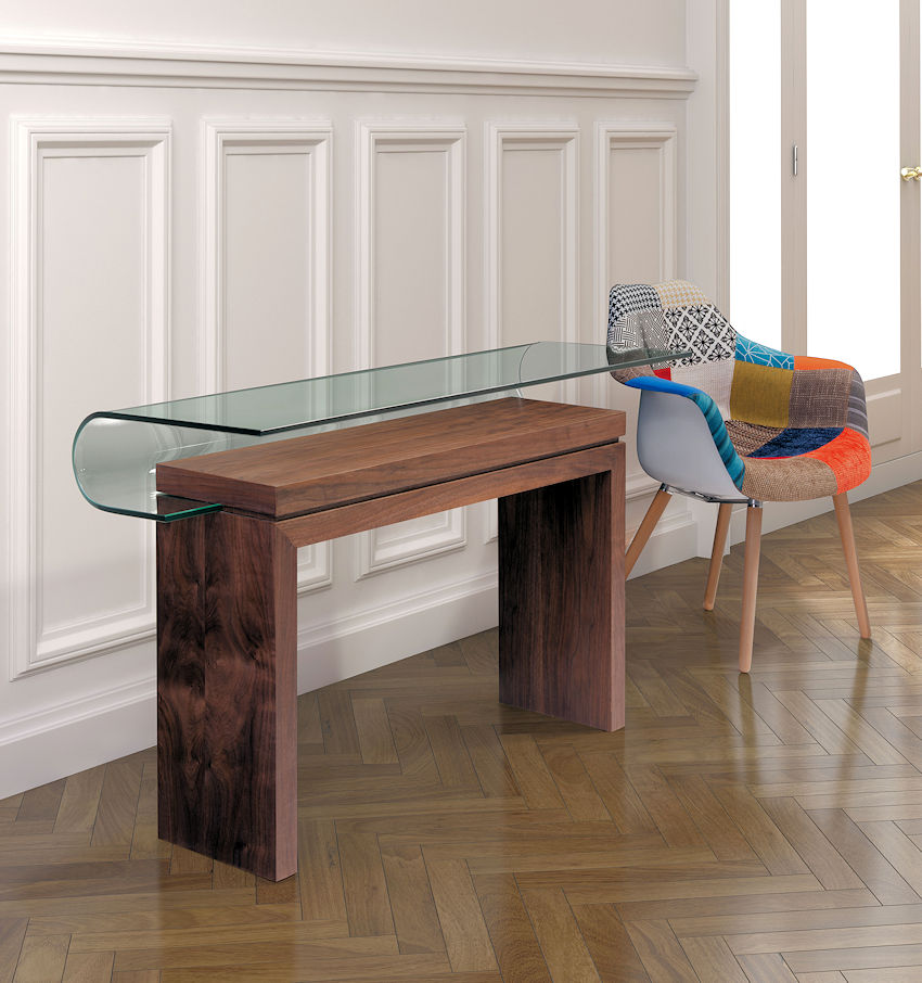 Contemporary Glass Top Console