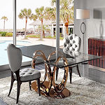 Contemporary Bronze Base Dining Table