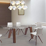 Contemporary Glass Top Extendable Dining Table