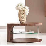 Contemporary Small Walnut Coffee Table